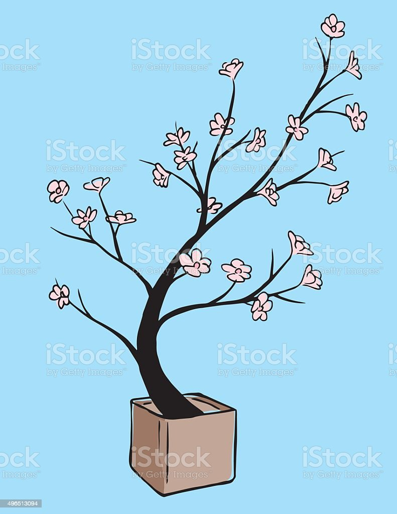 Color japanese cherry tree ink painting vector art illustration