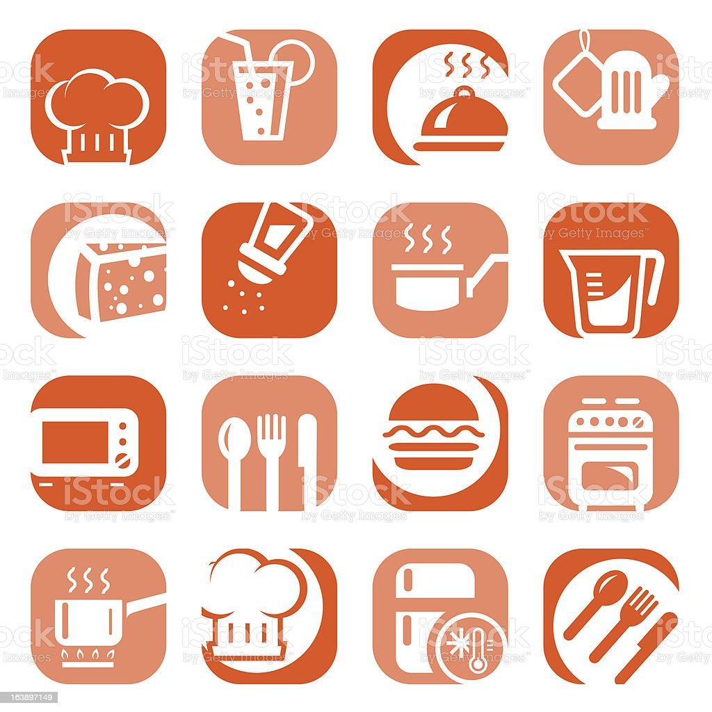 color kitchen icons set vector art illustration