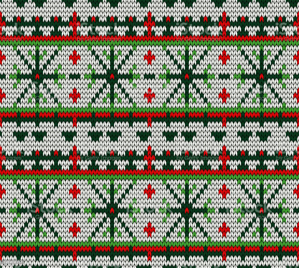 color knitted Christmas seamless pattern vector art illustration