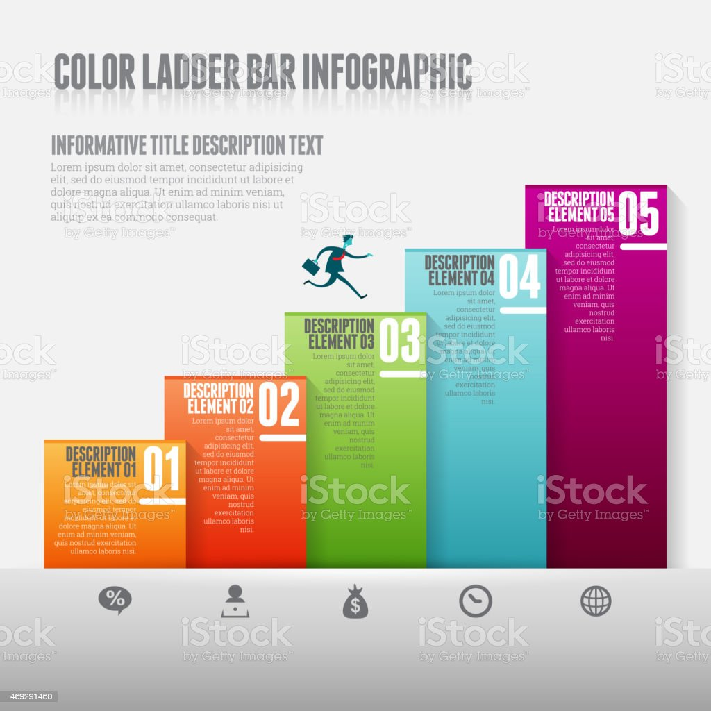 Color Ladder Bar Infographic vector art illustration