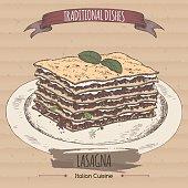 Color lasagna sketch placed on cardboard background.