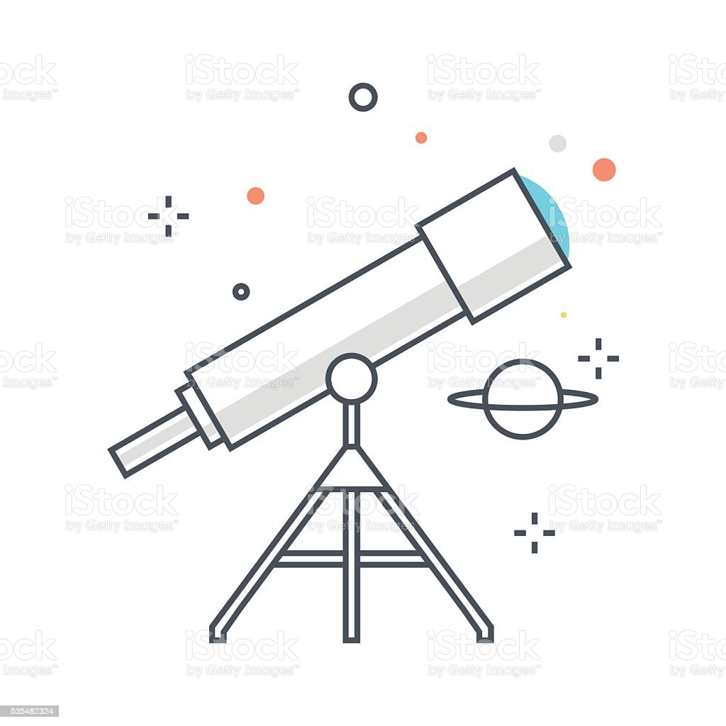Color line, astronomy illustration vector art illustration