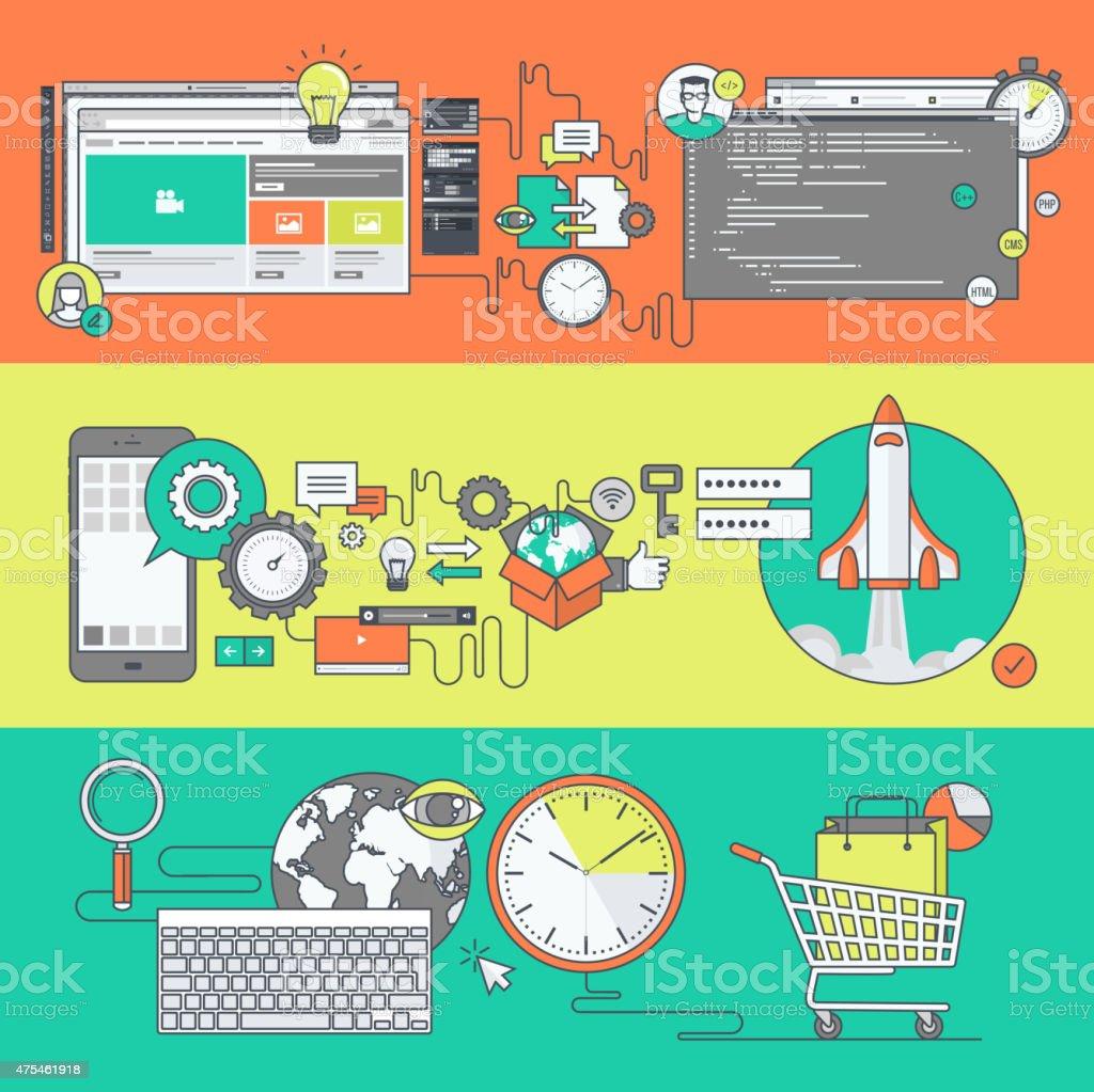 Color de banners de web y aplicación de desarrollo y el comercio electrónico illustracion libre de derechos libre de derechos