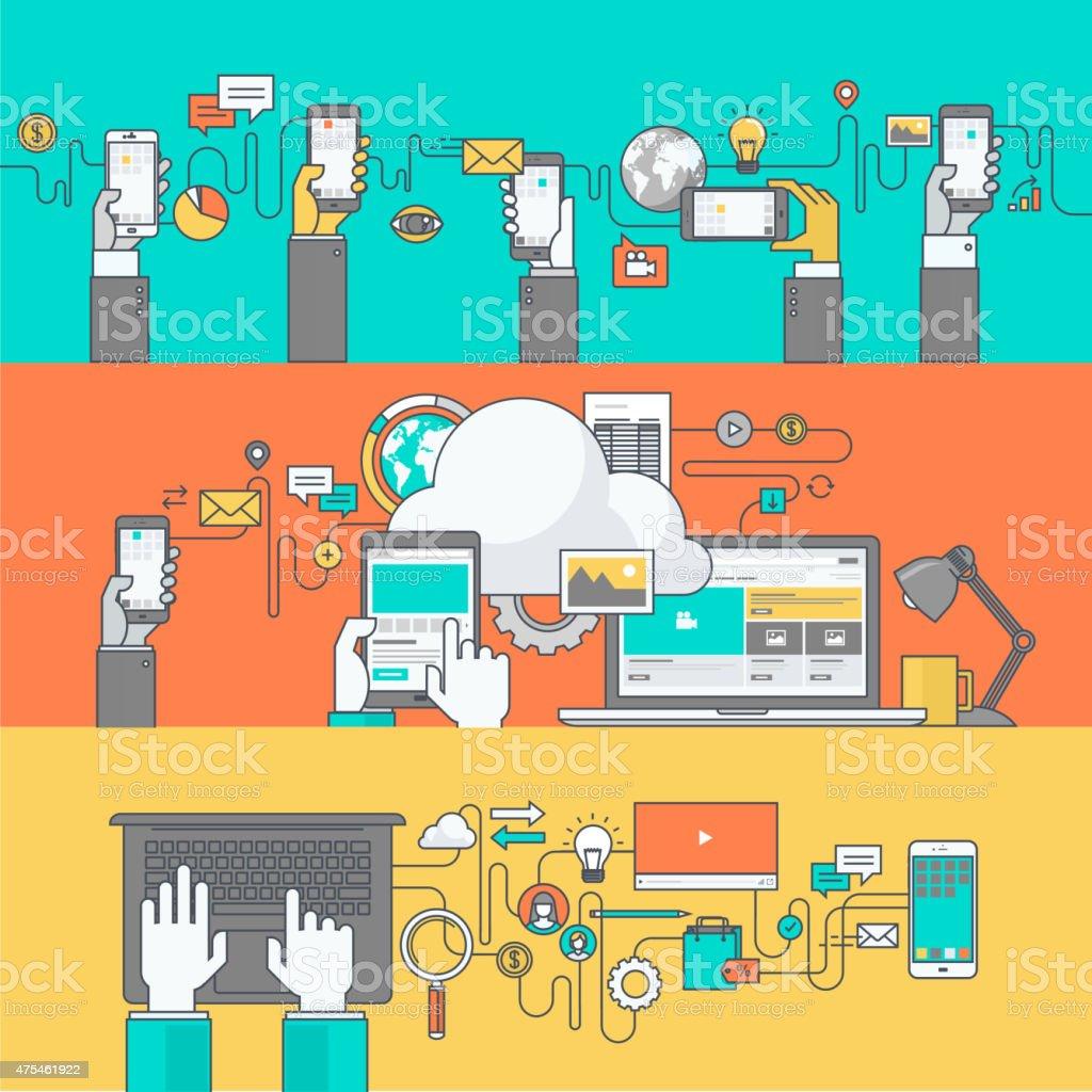 Color de banners para sitios web y aplicaciones móviles desarrollo y servicios illustracion libre de derechos libre de derechos