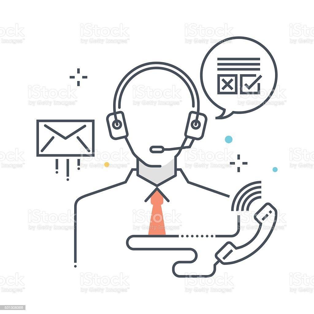 Color line, customer service concept illustration, icon vector art illustration
