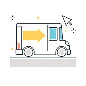 Color line, delivery illustration concept illustration, icon