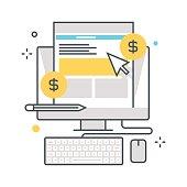 Color line, digital marketingconcept illustration, icon