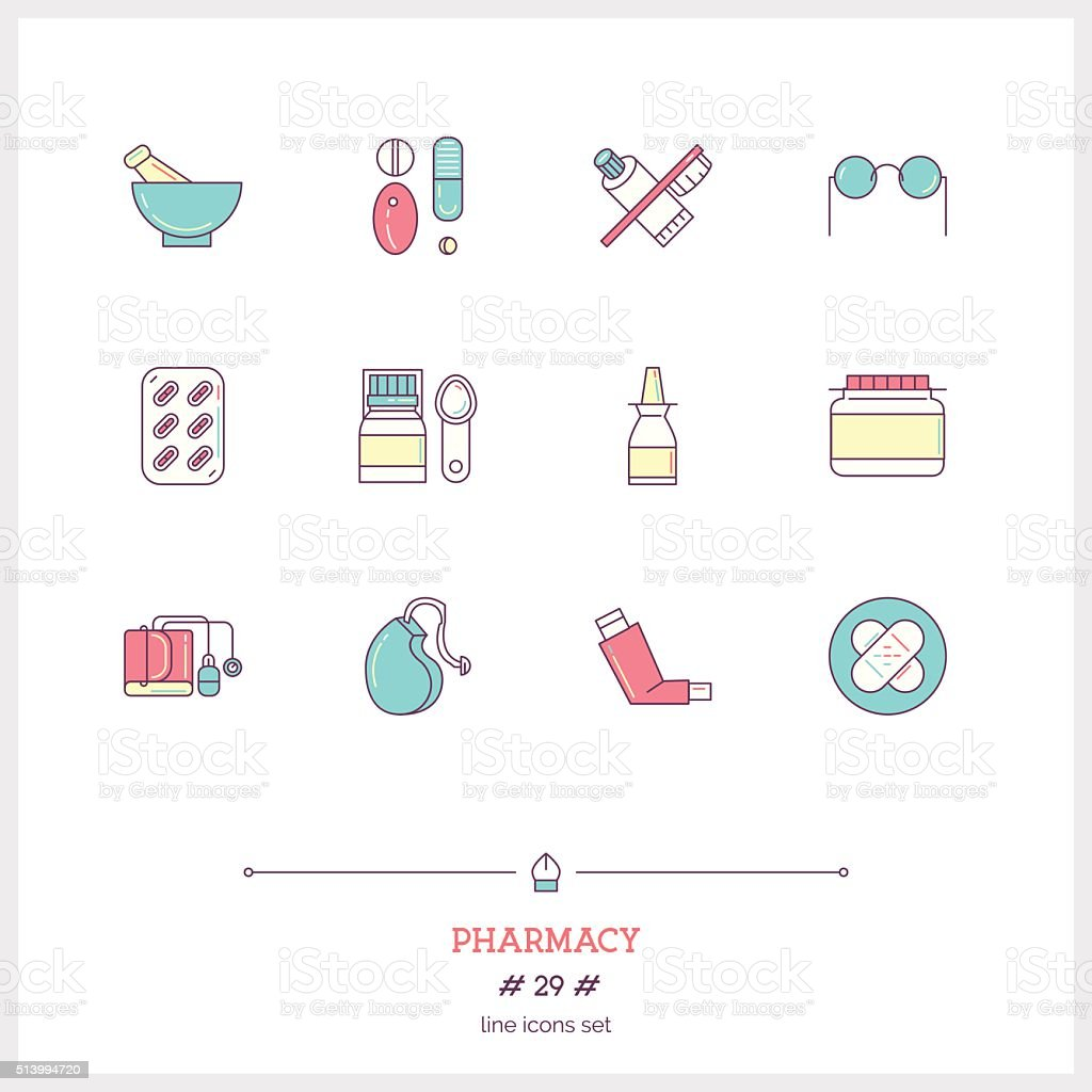 Color line icon set of pharmacy objects and products vector art illustration
