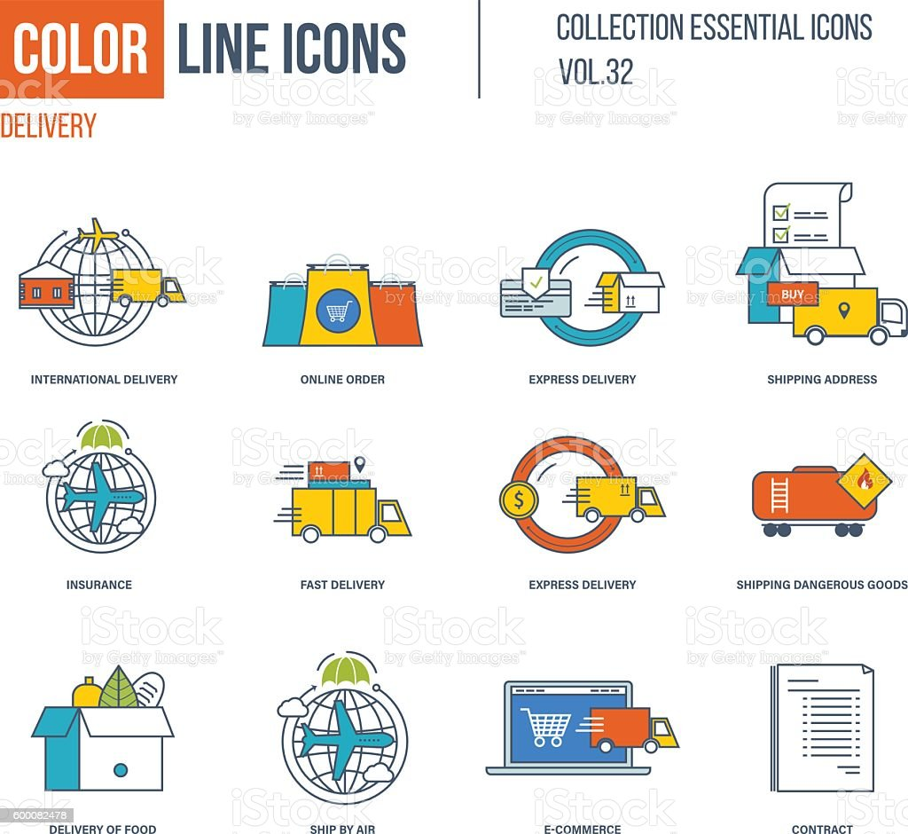 Color Line icons collection. International delivery, express and fast , vector art illustration