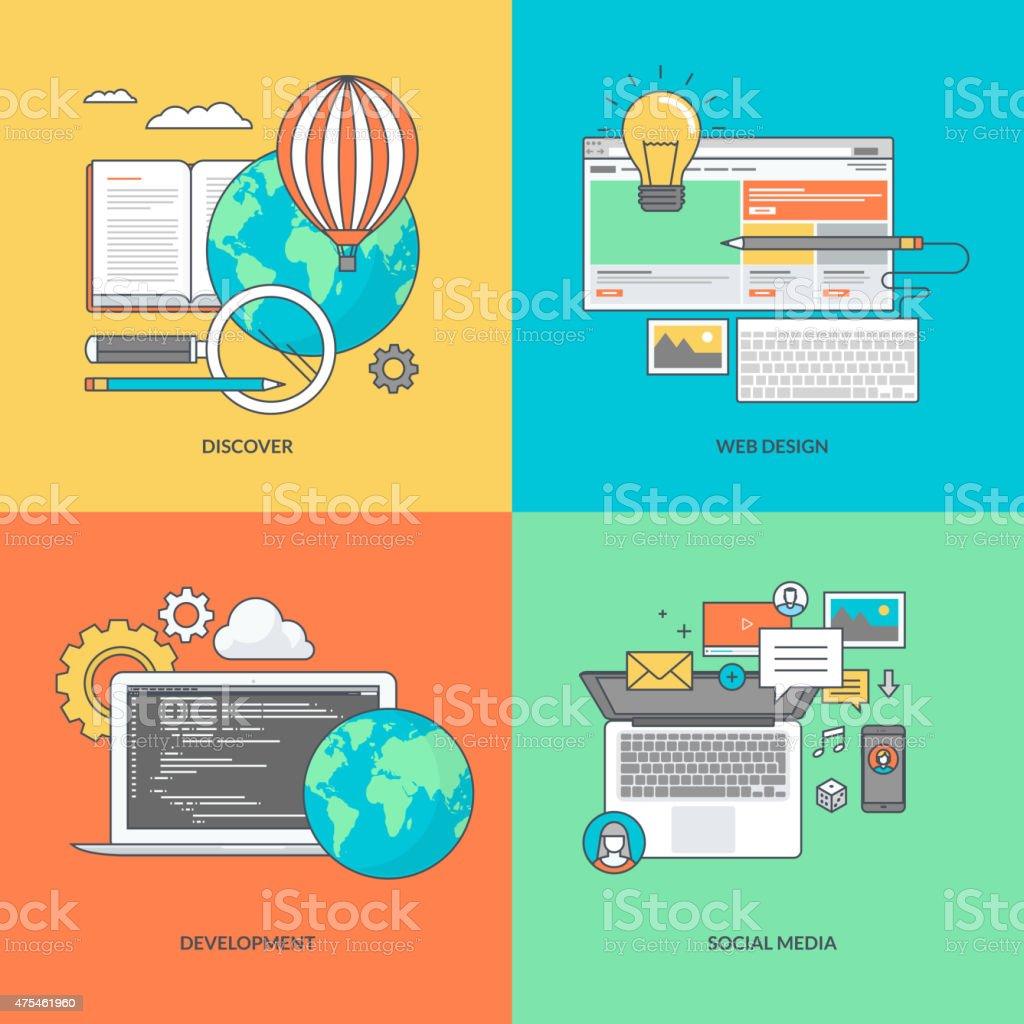 Color de los iconos de redes sociales y web desarrollo illustracion libre de derechos libre de derechos