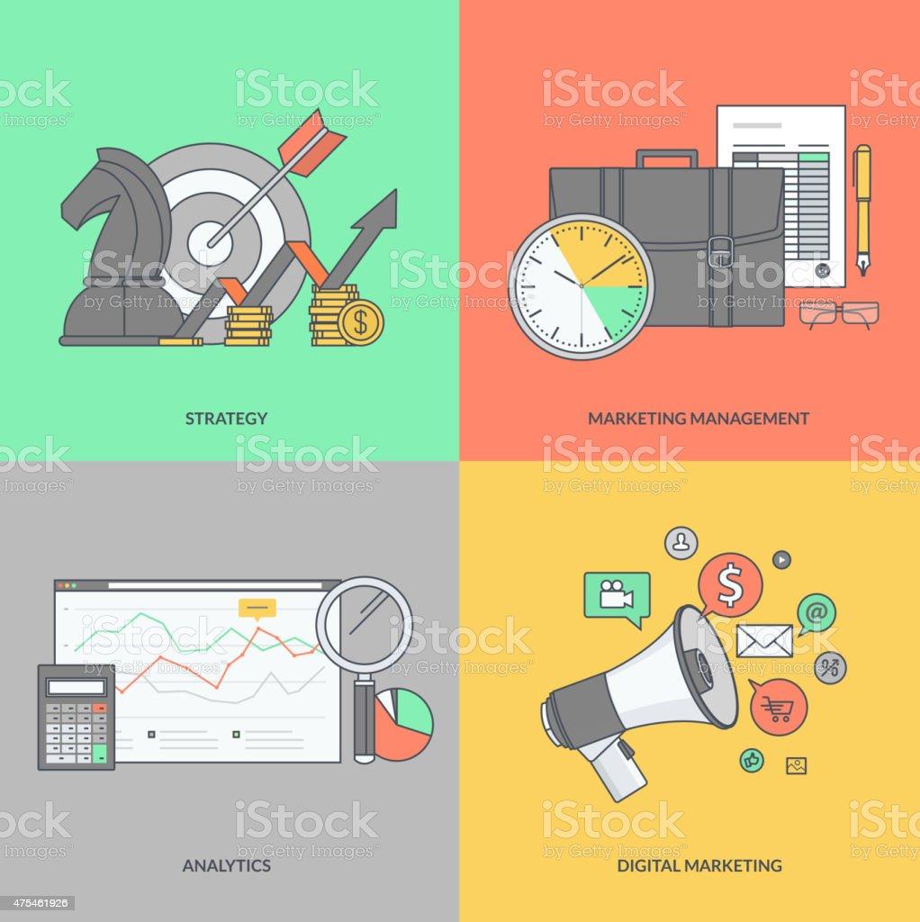Color de los iconos en el tema de los negocios y de comercialización illustracion libre de derechos libre de derechos