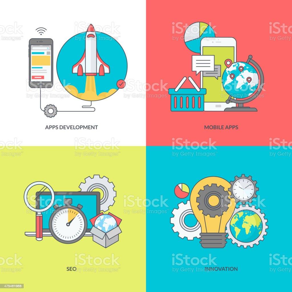 Color de los iconos en el tema de desarrollo de aplicaciones móviles. illustracion libre de derechos libre de derechos