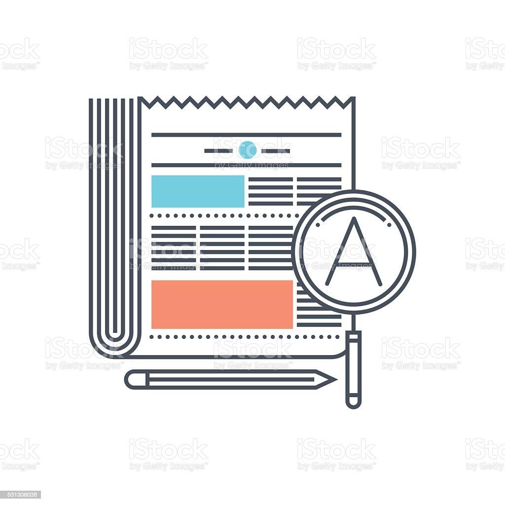 Color line, newspaper concept illustration, icon vector art illustration