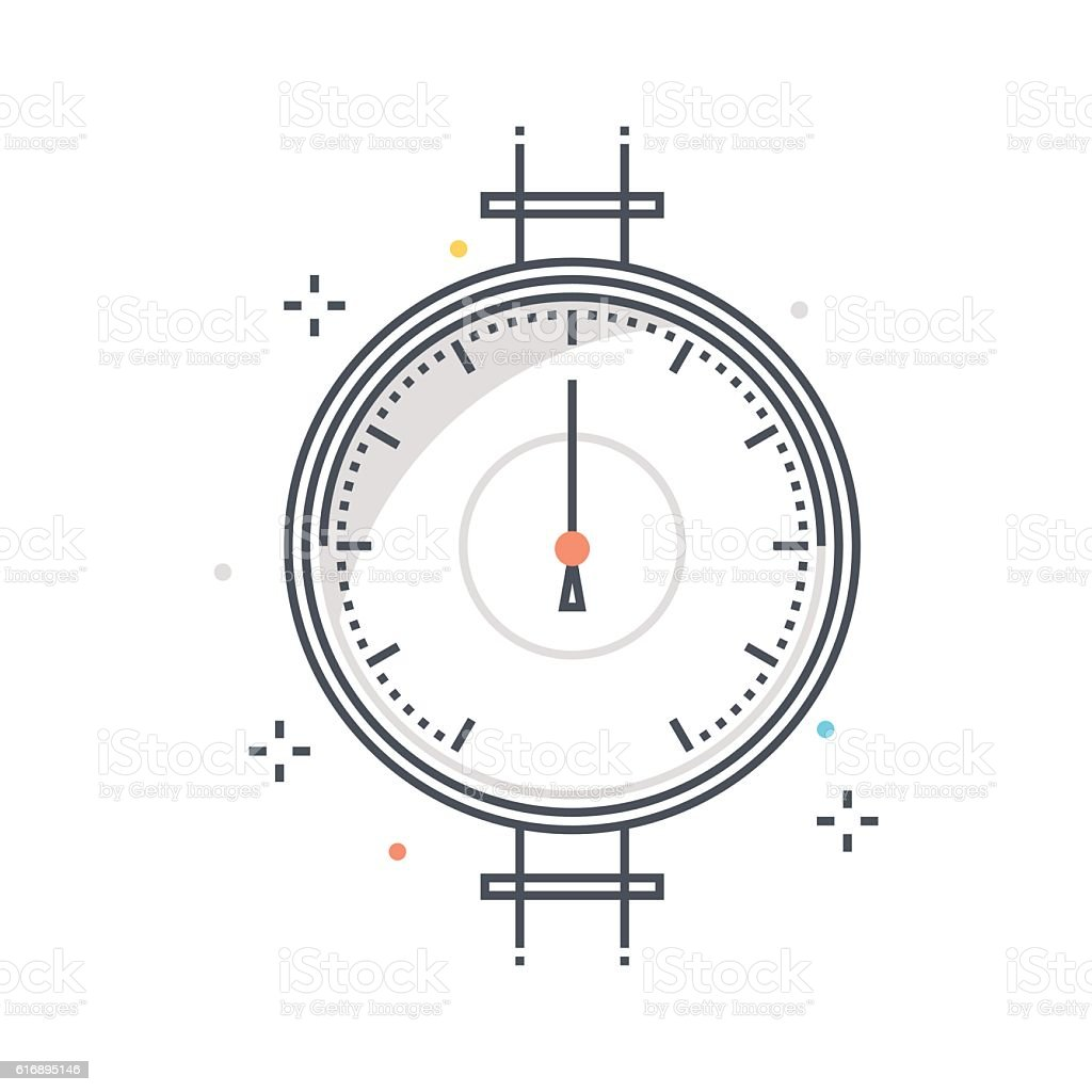 Color line, pressure meter concept illustration, icon vector art illustration