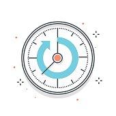Color line, timer illustration concept illustration, icon