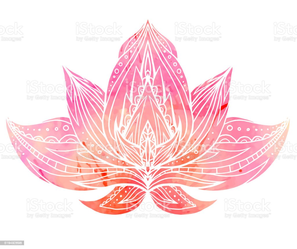 Color Lotus with boho pattern and watercolor background. vector art illustration