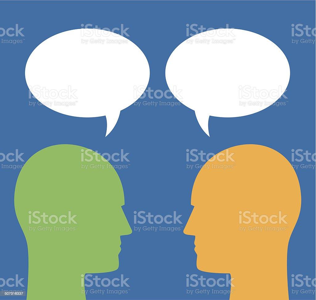 Color Male Talk Bubble Profiles vector art illustration