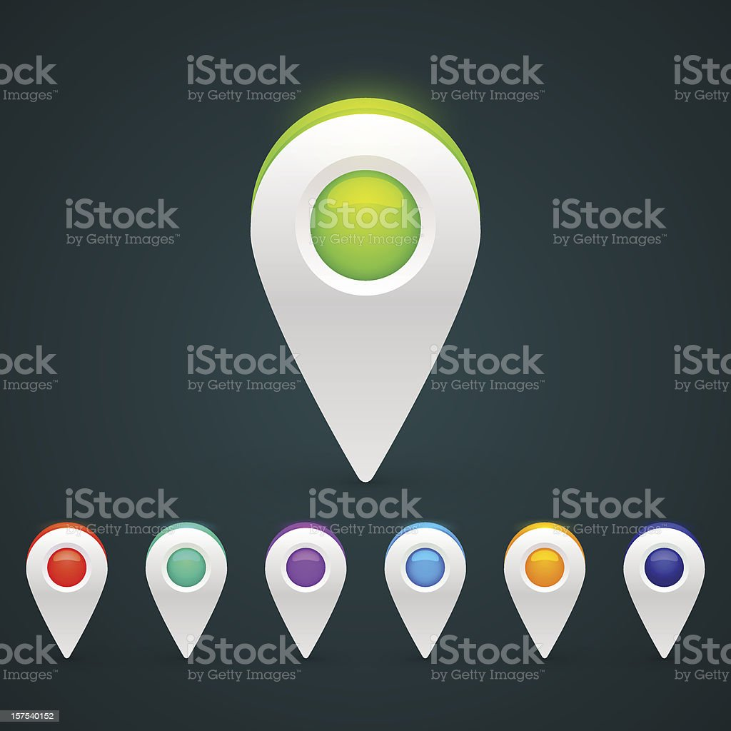 GPS Color Map Icons royalty-free stock vector art