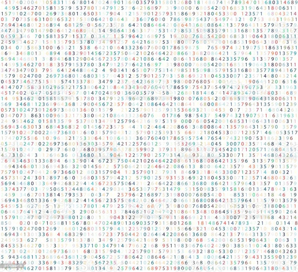 Color matrix background with digits. vector art illustration