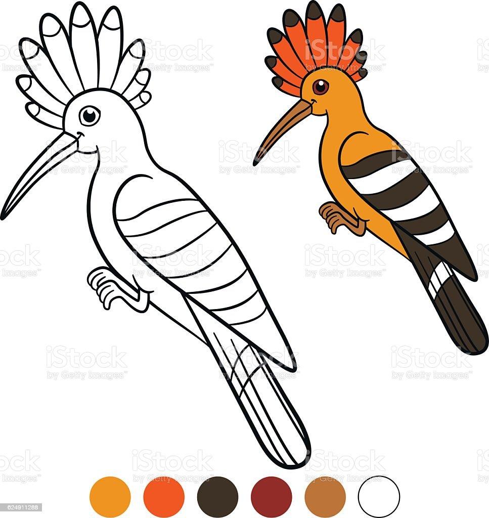 book color me beautiful : Color Me Hoopoe Cute Beautiful Hoopoe Smiles Royalty Free Stock Vector Art