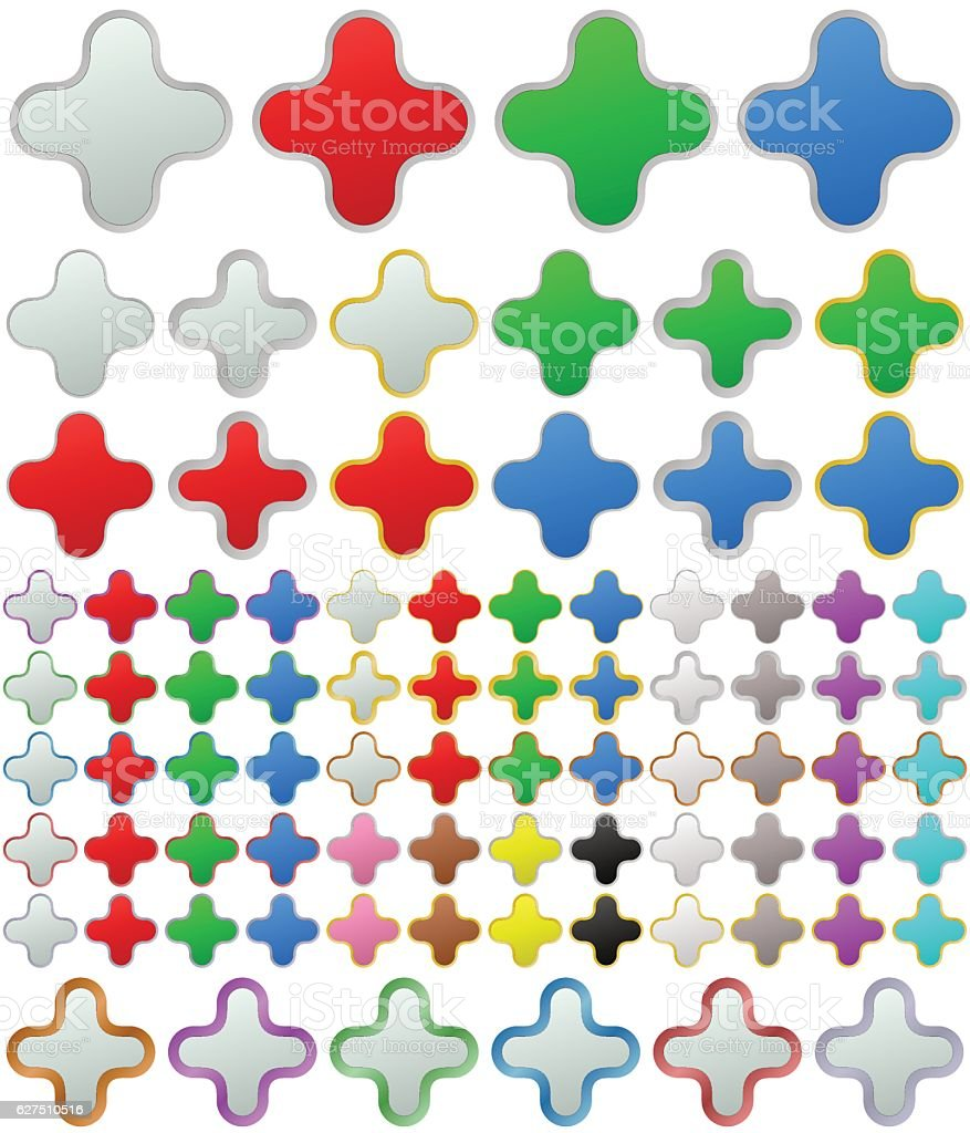 Color metallic rounded zoom button set vector art illustration