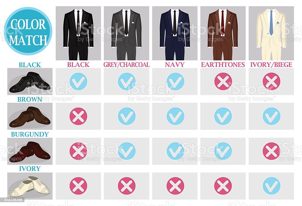 Color mix match guide for shoes and suit vector art illustration