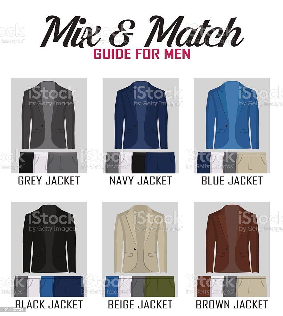 Color mix match guide for suit vector art illustration