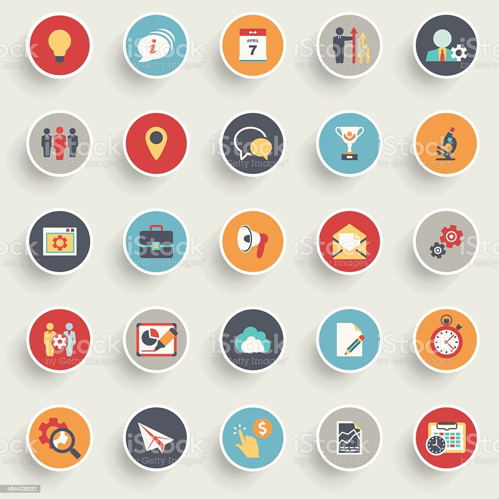 Color modern icons on buttons. Flat design. vector art illustration