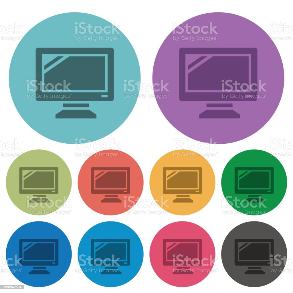 Color monitor flat icons vector art illustration