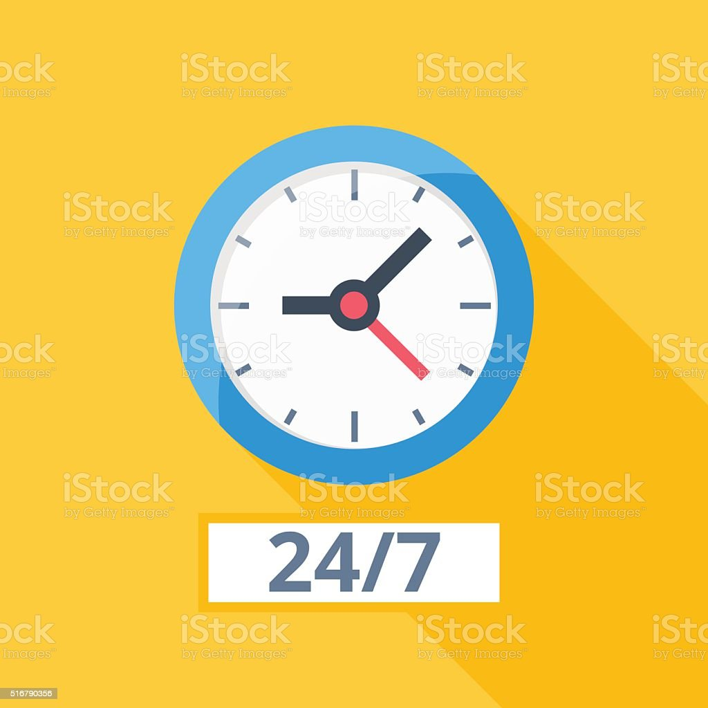 color orange wall clock with shadow vector art illustration