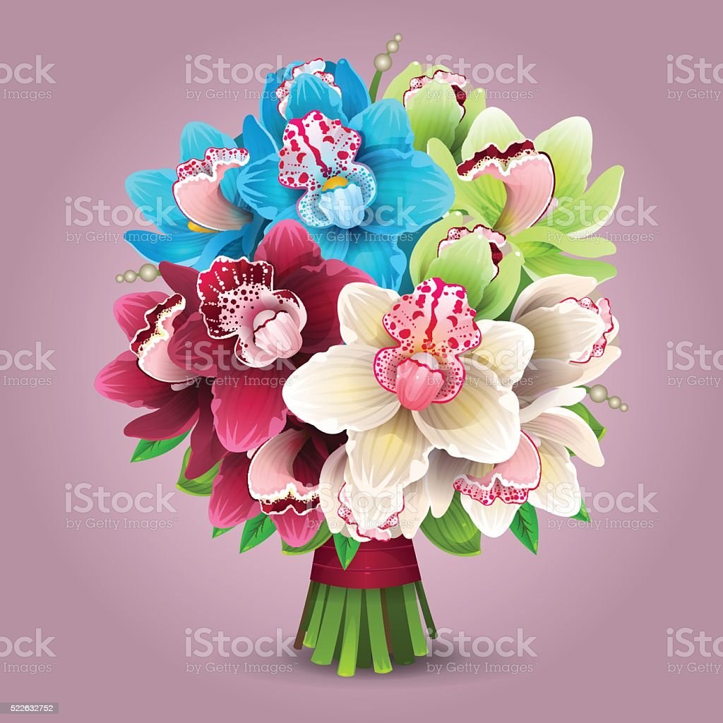 Color orchid bouquet vector art illustration