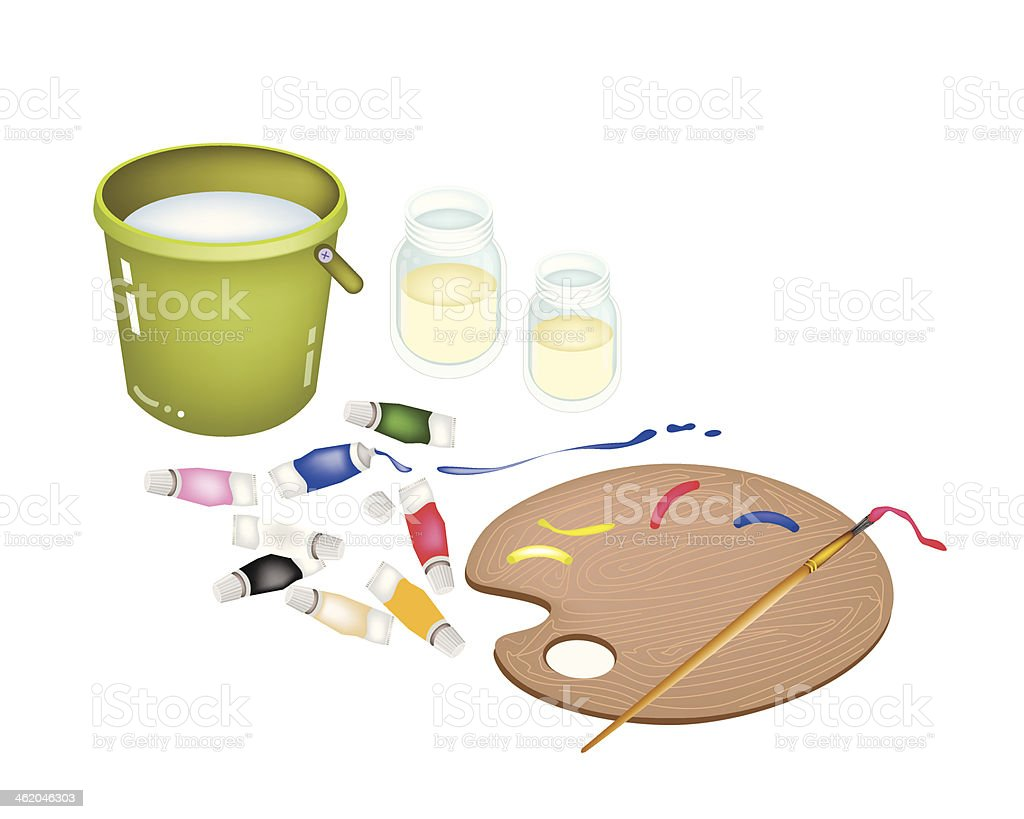 Color Paint in Palette with Brush and Bucket vector art illustration