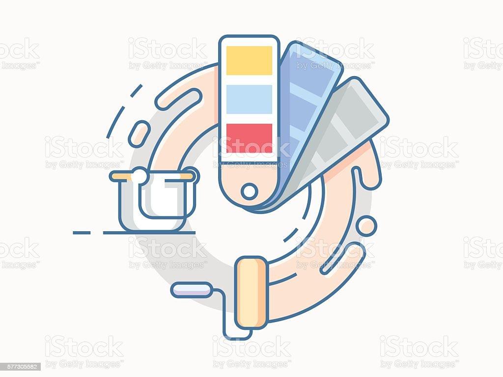 Color palette line design vector art illustration
