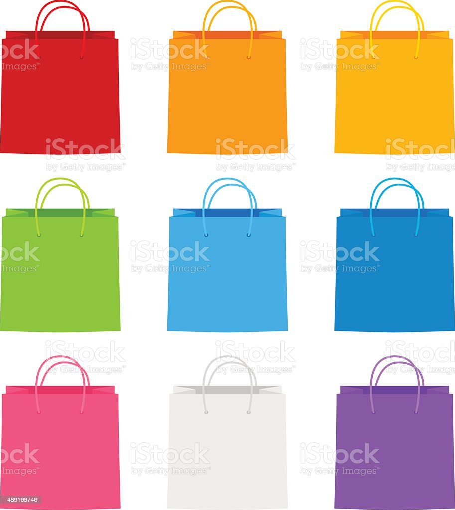 Color paper shopping bags for Your design vector art illustration