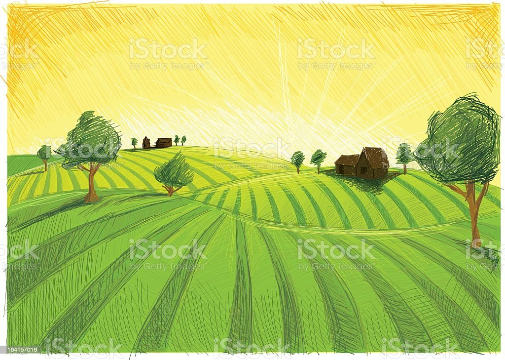 A color pencil sketch of late summer landscape  vector art illustration