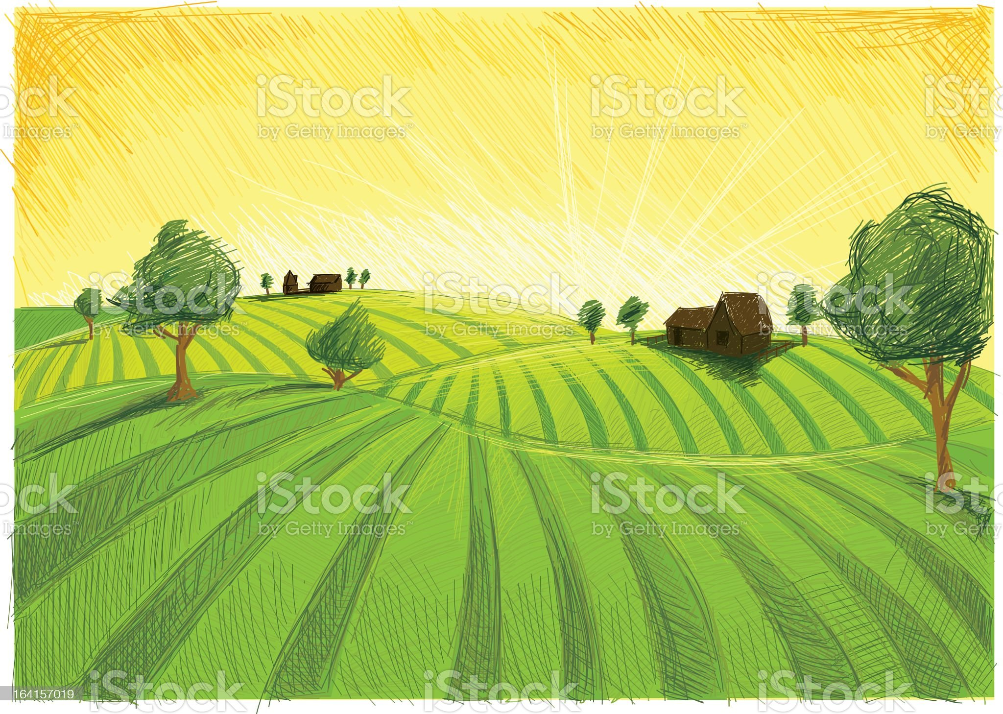 A color pencil sketch of late summer landscape  royalty-free stock vector art