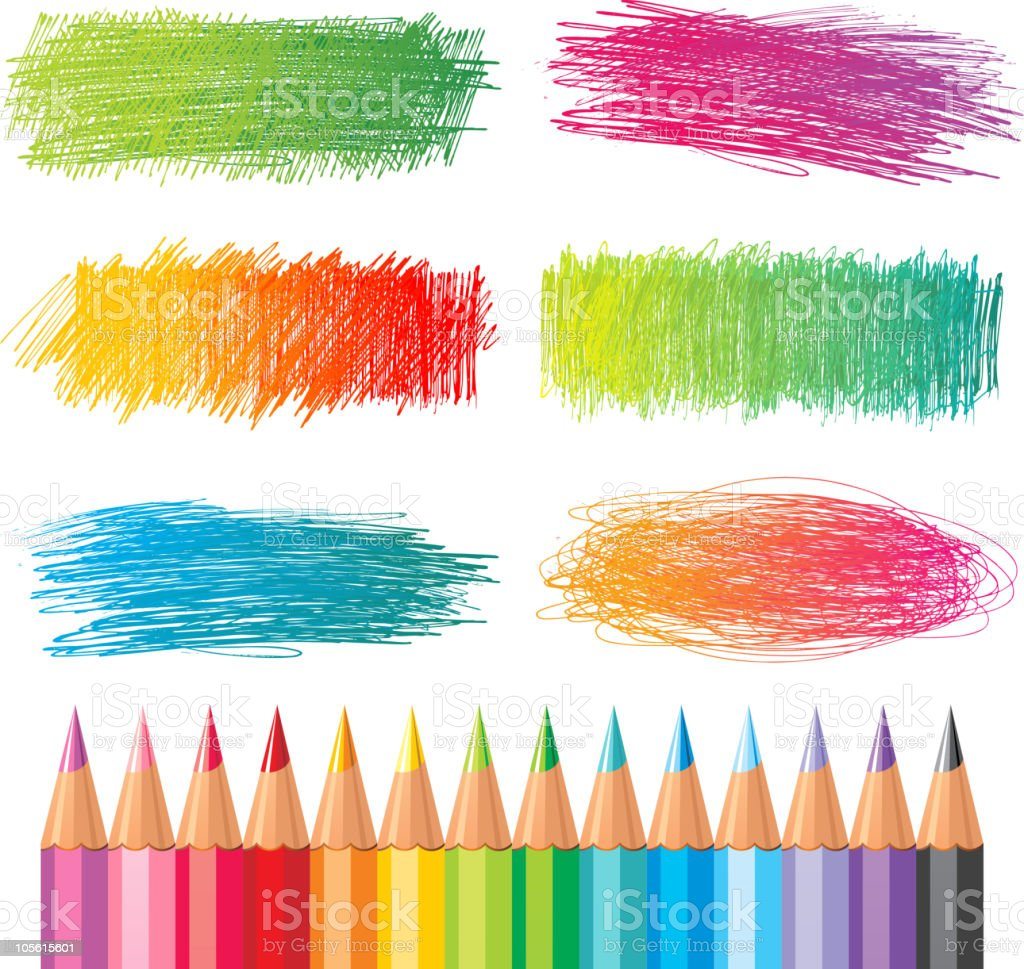 color pencil textures royalty-free stock vector art