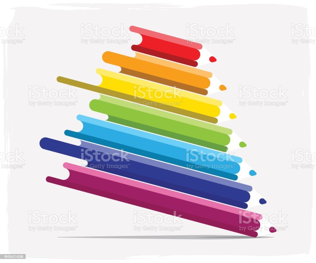 color pencil with paint flows vector art illustration