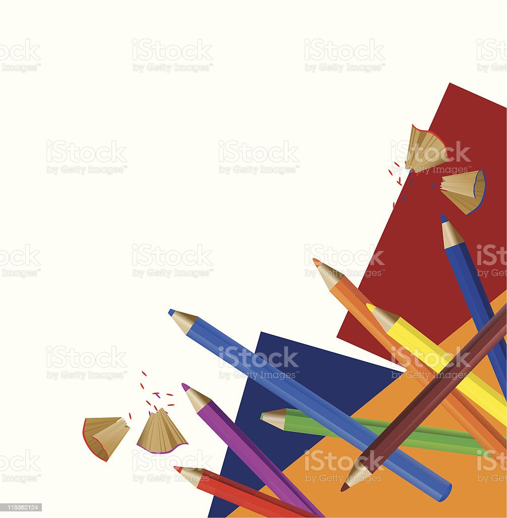 Color Pencils and Papers royalty-free stock vector art
