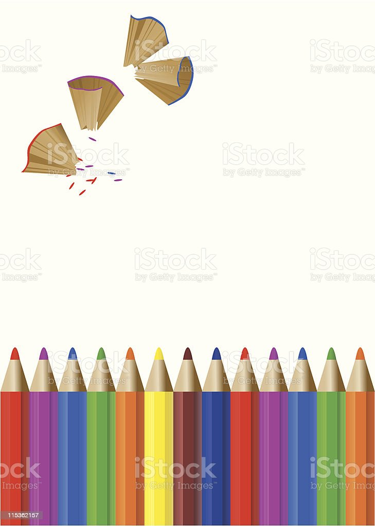 Color Pencils and Pencil Shavings royalty-free stock vector art