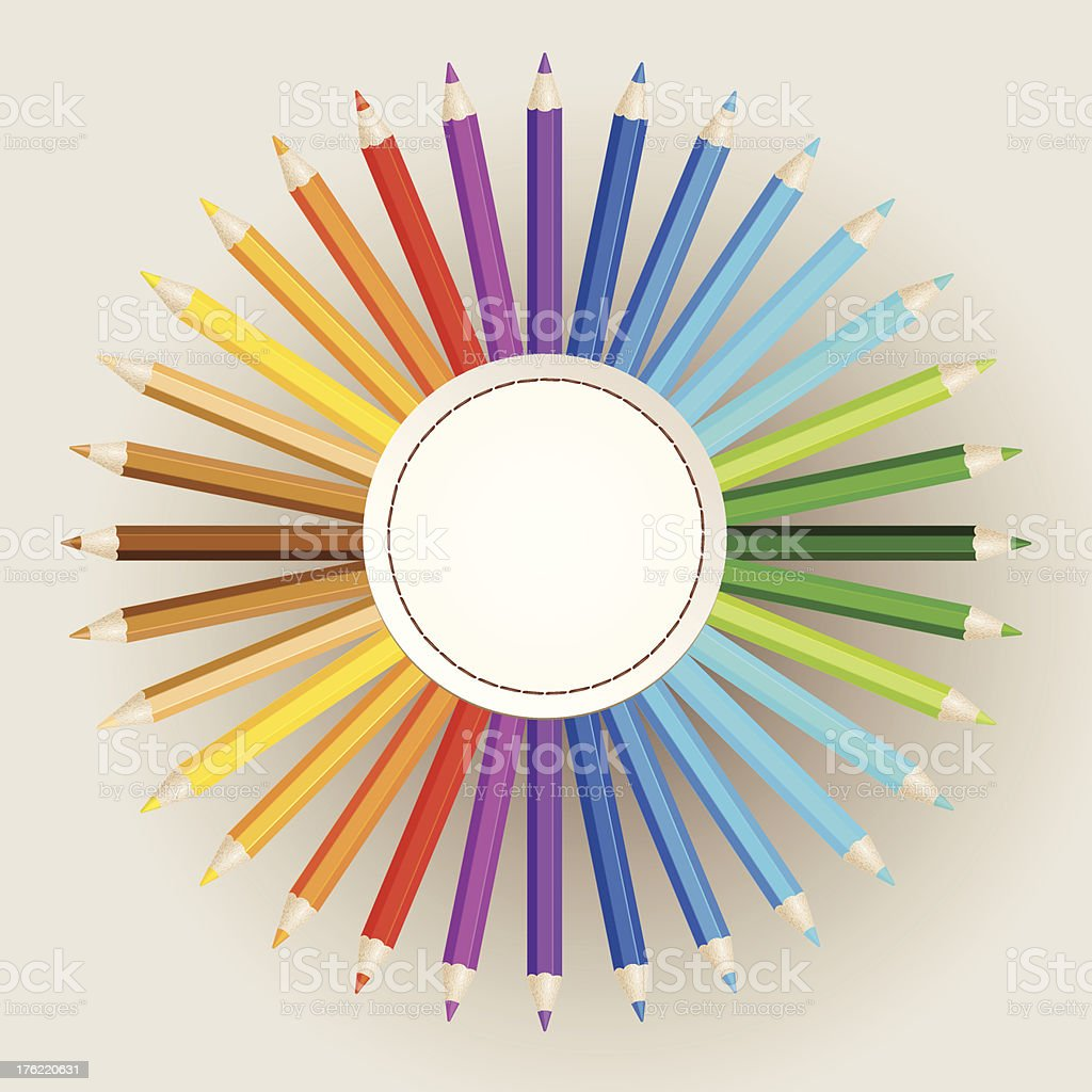 Color pencils on paper background royalty-free stock vector art