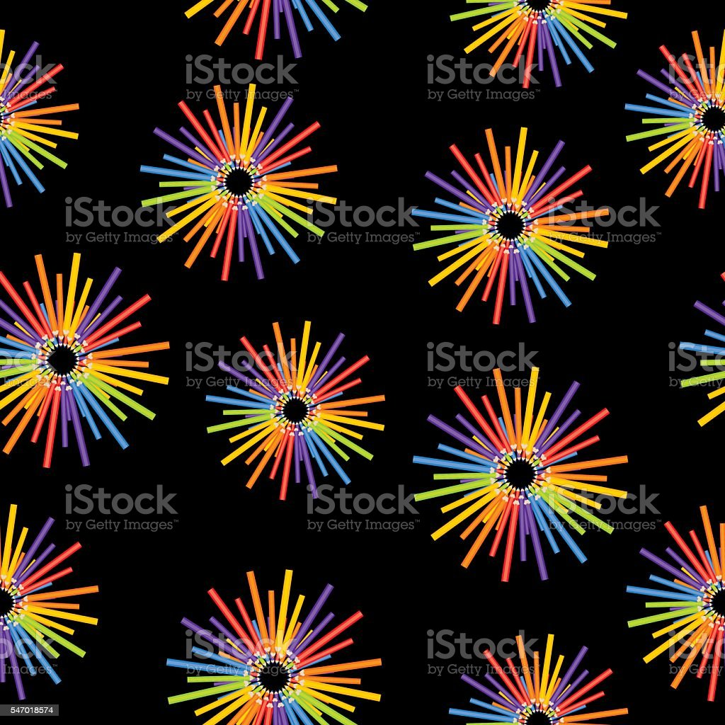 Color Penicils Burst Pattern vector art illustration