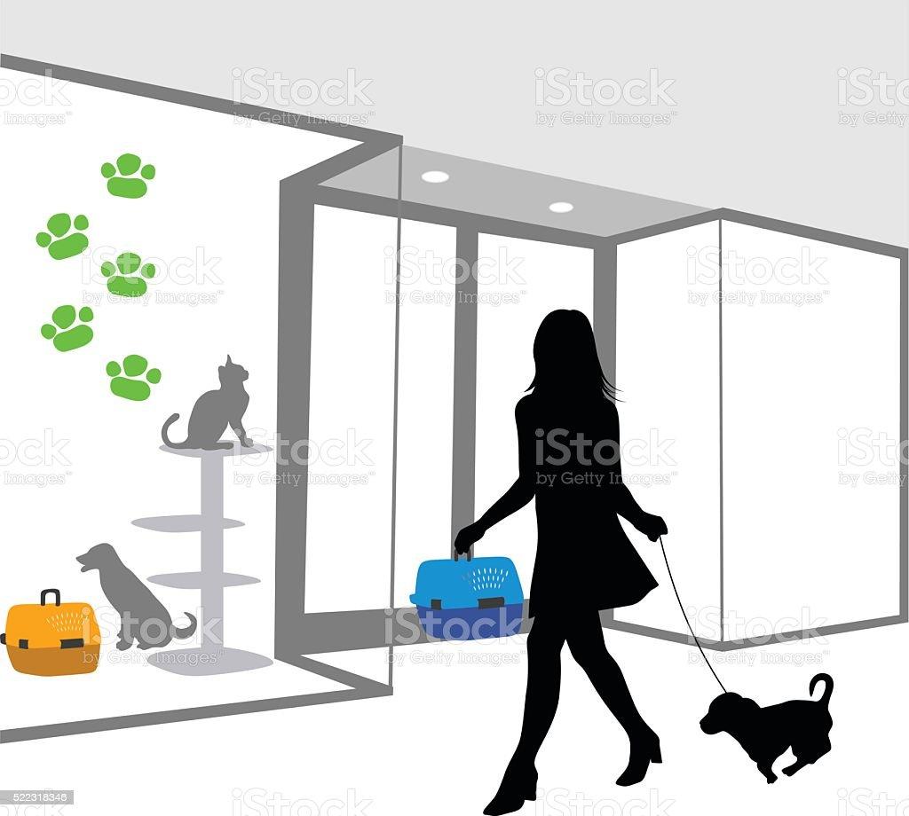 Color Pet Store Woman vector art illustration