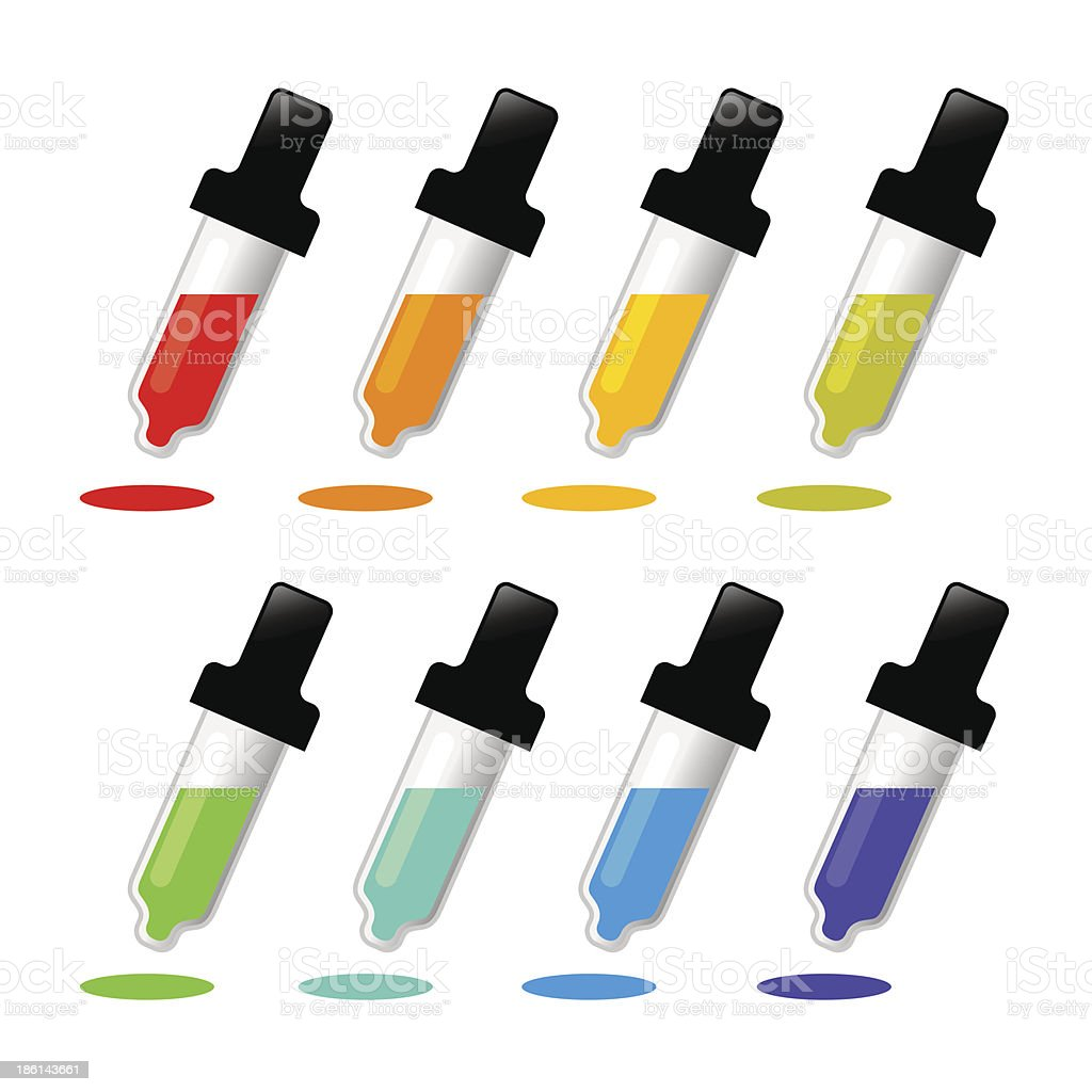 Color Picker Pipette in Various Color royalty-free stock vector art