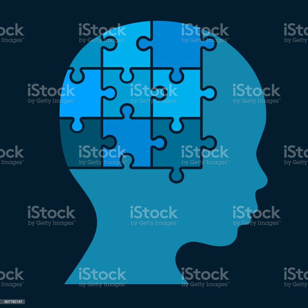 Color Puzzle Human Head Silhouette. Vector royalty-free stock vector art