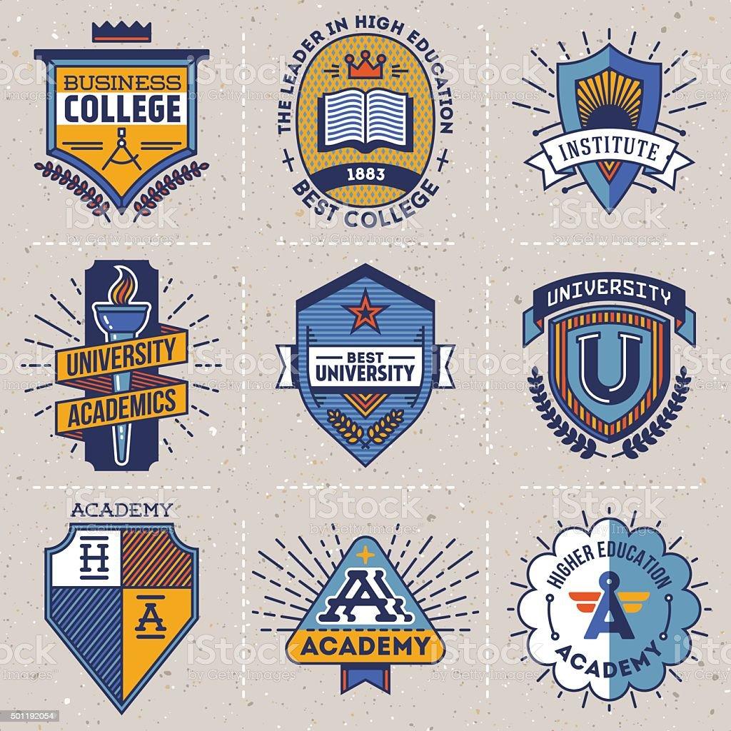 Color retro design insignias high education logotypes set 1. vector art illustration