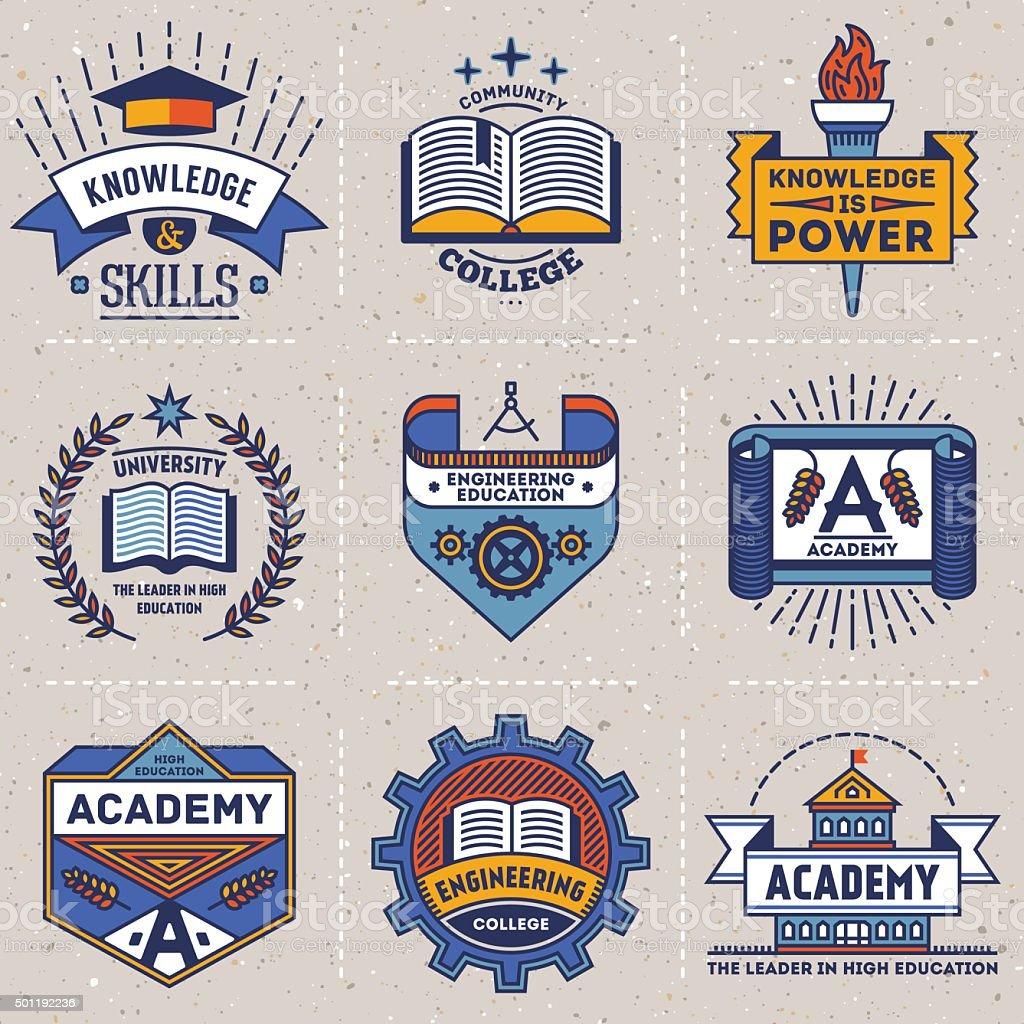Color retro design insignias high education logotypes set 2. vector art illustration