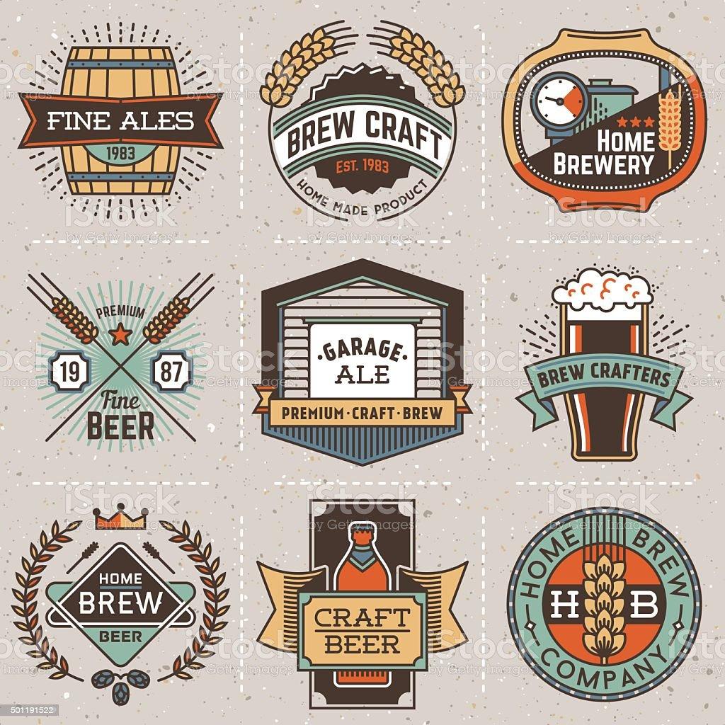Color retro design insignias line art logotypes home brewery set1. vector art illustration
