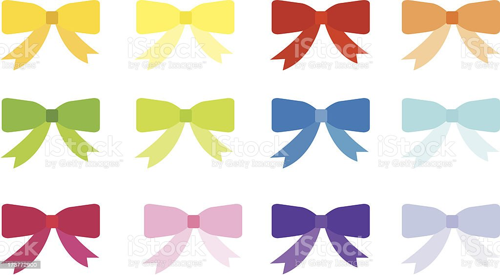 Color ribbon bows royalty-free stock vector art