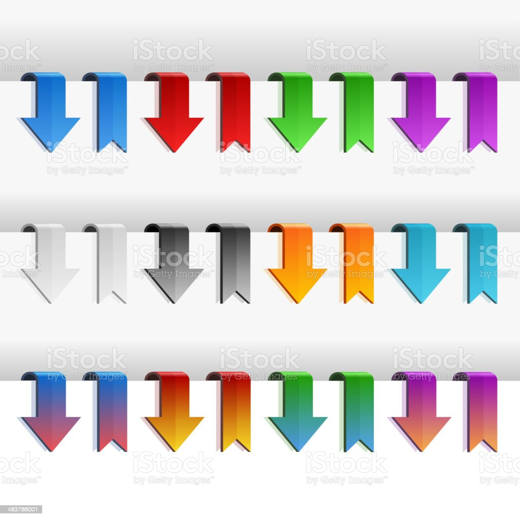 Color Ribbons and Arrows Set, Vector royalty-free stock vector art
